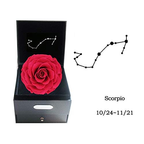 Everlasting Flower Constellation Gift Box Rose, Crystal Necklace Romantic Gift (Leo,Virgo,Libra,Scorpio),Scorpio
