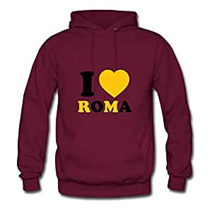 X-large Burgundy Style Personality Puzzle I Love Roma Hoodies By Erinwood - Women