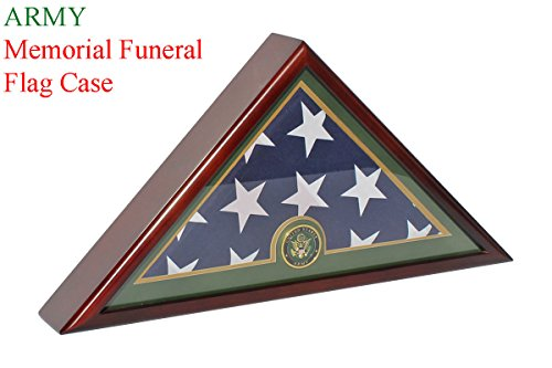 Army Flag Display Case for 5' X 9.5' Memorial Burial Funeral Flag - Mahogany Finish FC59-MAH
