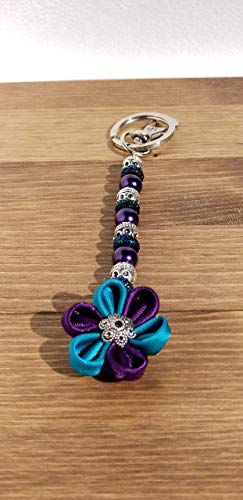 Purple and Teal Satin Flower Ribbon Beaded Keychain