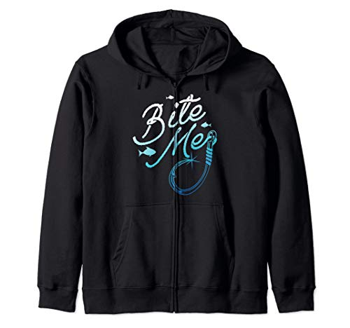 Fishing Fisherman Bite Me Funny Gift Fish Design Idea Zip Hoodie