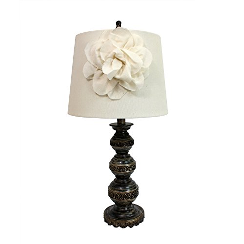 Elegant Designs LT3097-WHT Stacked Ball Lamp with Couture Linen Flower Shade, Aged Bronze - Couture 1 Light
