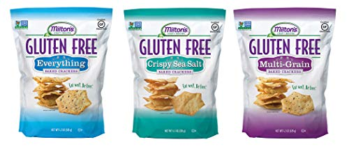 Milton's Gluten Free Baked Crackers, 3 Flavor Variety Bundle. Crispy & Gluten-Free Baked Grain Crackers (Crispy Sea Salt, Everything, and Multi-Grain, 4.5 ()