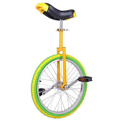 Check Out This 20 in Colorized Wheel Uni-Cycle Skidproof Unicycle w Stand Cycling Yellow Green
