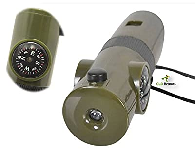 CLD Brands Outdoor Emergency Whistle - Bonus Survival Guide - 7 Tools in 1 - Compass, Thermometer, Magnifier, Reflector, Flashlight - Camping Hiking Fishing Hunting by CLD BrandsTM Best Outdoor Emergency Survival Whistle