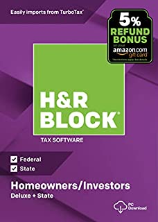 H&R Block Tax Software Deluxe + State 2018 with 5% Refund Bonus Offer [Amazon Exclusive] [PC Download] (B07HJ5KHVN) | Amazon Products