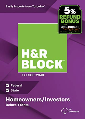Software : H&R Block Tax Software Deluxe + State 2018 with 5% Refund Bonus Offer [PC Download]