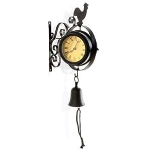 reloj pared antiguo de estaci n con gallo y campana