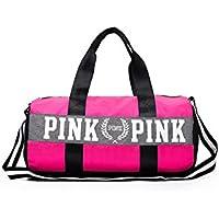 LanDream Bolsa de Gimnasio Gran Capacidad Oxford Coth Gym Bag Sports Holdall Travel Weekender Bolsa de Lona para Hombres y Mujeres (Rosa Rosa)