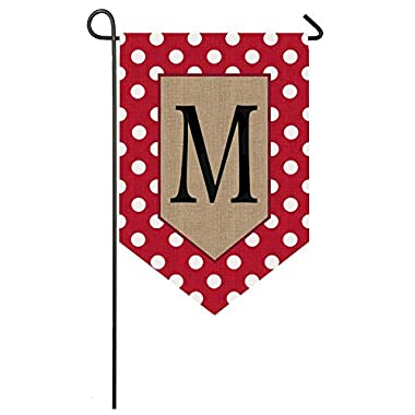 Evergreen Enterprises 14B3477MFB Polka-Dot Welcome Monogram Garden Flag Letter: M