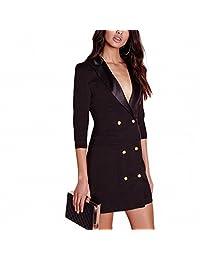 Womens Black Blazer Dress Button Notched Bodycon Sexy High Waist Suit Style Slim