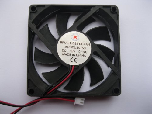 2 pcs Brushless DC Cooling Fan 12V 8015S 9 Blades 2 wire 80x80x15mm Sleeve-bearing Skywalking