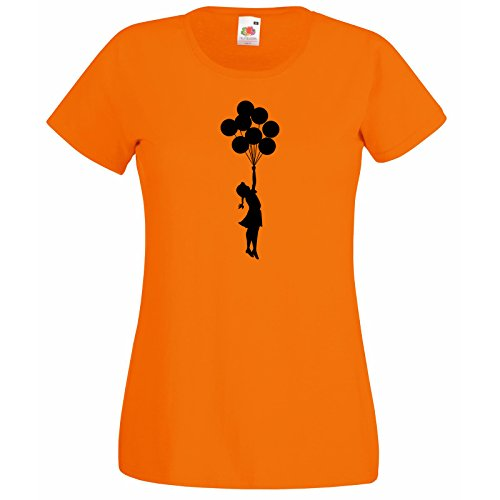 shirt Escapism Palloncini T Super Orange con Girl Girl Gift Superba camicia donna Teenage The Premium Decal Loom Of Balloon Fruit Banksy Flying dnnr6WB