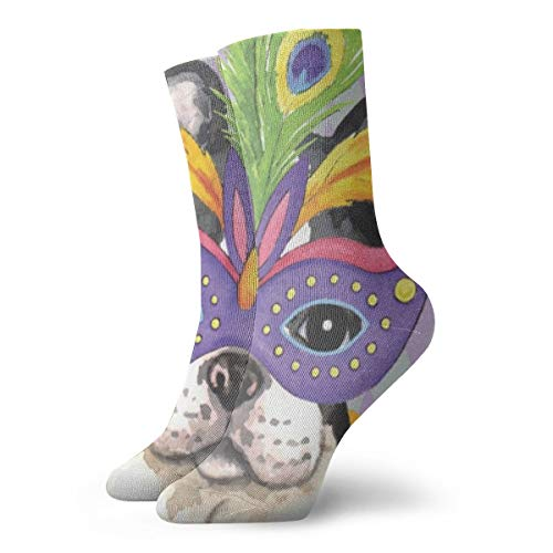 Cute Roston Terrier With Mask Sports Ankle Quarter Socks Comfort For Unisex]()