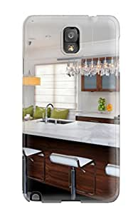 Premium White Kitchen With Marble Island Amp Bar Stools Plus Subway Tile Backsplash Heavy-duty Protection Case For Galaxy Note 3