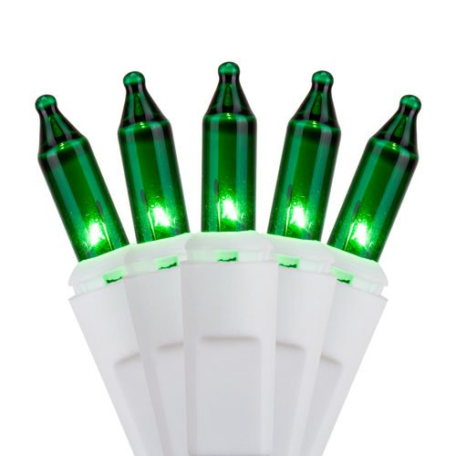 [Holiday Essentials 100 Ultra-Brite Green Lights on White Wire - Indoor / Outdoor Use - UL Listed] (White Green Wire)