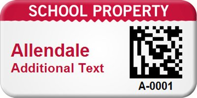 Bar-coded School Property Tag,, VOID if Removed StealGuard™ Label, 100 Labels / Pack, 1.5'' x 0.75''