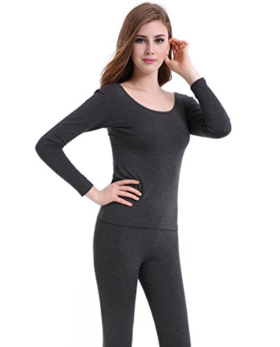 CnlanRow Thermal Underwear Women Long - Scoop Neck Ultra - Thin Johns Set Top & Bottom