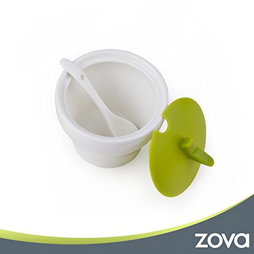 zova Ceramic Condiment Spice Jars Seasoning Box with Lid, Serving Spoon and Tray, Set of 3, White & Green by MR.SIGA (Image #4)