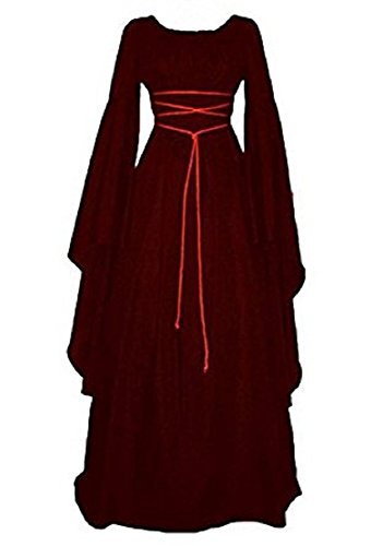 Misassy Womens Renaissance Costumes Medieval Irish Over Dress Victorian Retro Gown Cosplay