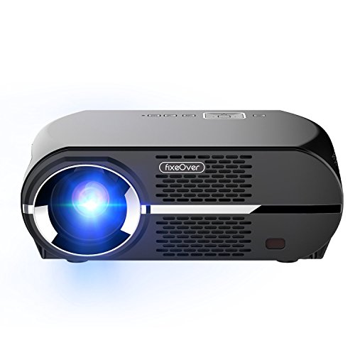 FIXEOVER GP100 Video Projector,LCD 1080P Full-HD Level Image Quality,3500 LMS LED Light Output Brightness, WXGA Resolution, In Your Living Room Bedroom Meet All Entertainment,Games,Video Viewing