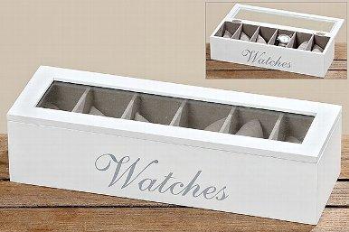 Holzbox Watches Uhrenbox fuer Uhren weiss