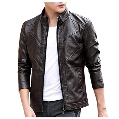 Beautyfine Jacket Leather Men Winter Biker Motorcycle Zipper Long Sleeve Coat Top Blouses (Best Motorcycle Riding Jackets In India)