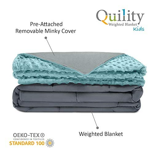 """Quility Premium Kids Weighted Blanket & Removable Cover - 5 lbs - 36""""x48"""" - for a Child Between 40-70 lbs - Single Size Bed - Premium Glass Beads - Cotton/Minky - Grey/Aqua Color 2"""