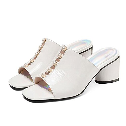 Sandals Rough Heel Shoes Open Toe Slippers Female Summer Fashion Rhinestone Heel Shoes Casual Shoes White kNe3JHvLoU