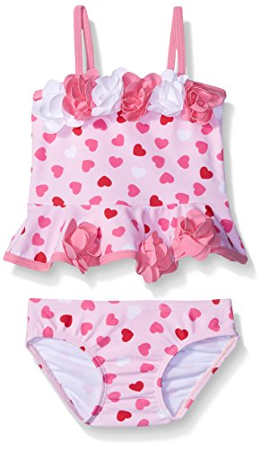 Kate Mack Baby Girls' Be Mine Baby Heart Print Tankini Swimsuit, Pink, 24 Months
