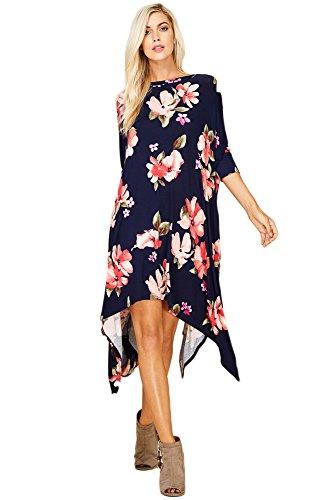 Handkerchief Dress Pattern (Annabelle Women's Plus Size Flower Pattern Handkerchief Midi Dress X-Large Navy D5285B)