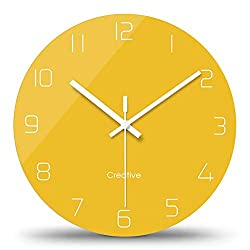 FlorLife Modern Wall Clocks Vintage Style Round Glass Wall Clock, Wall Decor Clocks for Kitchen, Office, Retro Hanging Clock, Home Decor Accessories 12 Inch  - Yellow