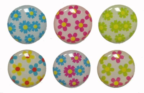 3D Semi-circular Mini Small Flowers 6 Pieces Home Button Stickers for iPhone 5 4/4s 3GS 3G, iPad 2, iPad Mini, iTouch Red Blue Green Yellow