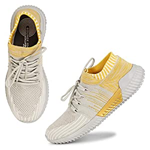 Columbus Men's Running Shoes Grey Yellow KnitFly-01