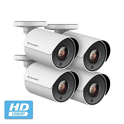 4-Pack Amcrest Full HD 1080P Bullet Outdoor Security Camera Analog, 2MP 1920x1080P, Heavy Duty Housing, 2.8mm Lens 103° Viewing Angle, White (4PACK-AMC2MBC28P-