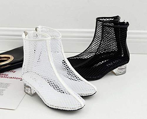 Größe Heel Dress EU Crystal Stiefel 34 Net Boots Mesh 5Cm Schuhe 40 Chunkly Hollow Bootie Garn Roma Knöchel Mamrar Frauen Coole vUxAwCnq1