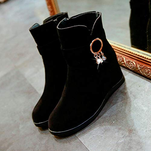 Shoes Martin Black Casual Winter Zipper Boots Low Fashion Autumn Tube FALAIDUO Middle Boots Women Flcok Wedges Boots 4qR6PfPxw