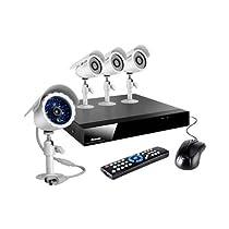 Zmodo KDS4-BARBZ4ZN 4Channel H.264 DVR + 4 CMOS 480TVL 65feet Night Vision Outdoor Security Cameras Surveillance kit **No HDD**