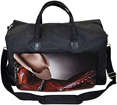 3647627f0c19 Ambesonne Western Gym Bag, Cowboy Wild Texas Art ... - Amazon.com