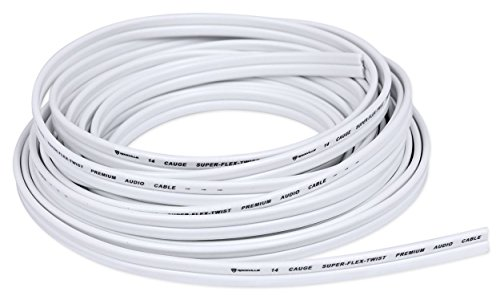 Rockville R14G125MSW 125 Foot Spool Marine Waterproof 14 AWG Speaker Wire White