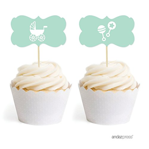 Andaz Press Baby Shower Cupcake Toppers DIY Party Favors Kit, Baby Shower Mint Green Rattles Carriage, Double-Sided, 18-Pack Baby Rattle Cakes
