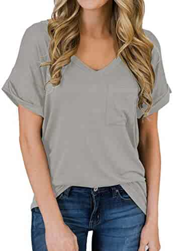 MIHOLL Women's Short Sleeve V-Neck Shirts Loose Casual Tee T-Shirt
