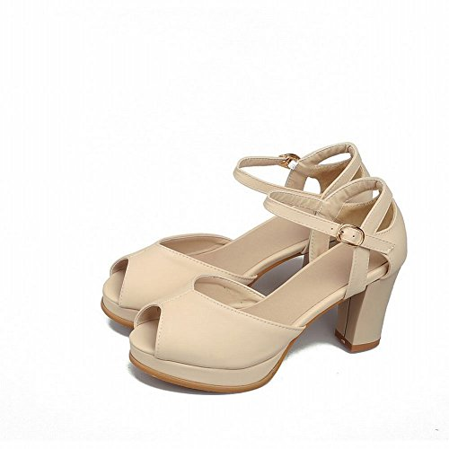 Carol Shoes Chic Womens Buckle Peep-toe Grace Fashion Elegance Platform Chunky High Heel Sandals Apricot i8BdEFw
