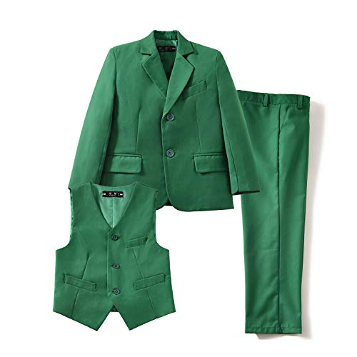 YuanLu 3 Piece Suits for Boys Slim Fit Toddler Kids Tuxedo Set Green Size 2T -