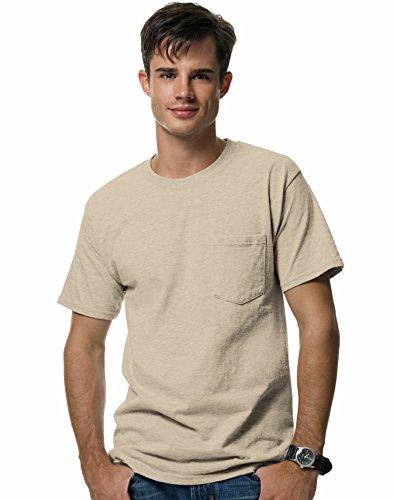 (Hanes 5190P Ringspun Cotton Beefy T-Shirt with Pocket - Natural - 3XL)