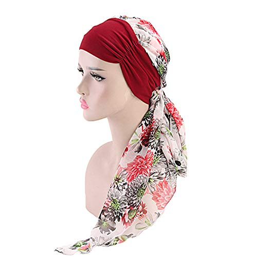 New Spring Cotton Head Wear Muslim Beanies Chemotherapy Cap Flower Grid Month Hats Accessories 7