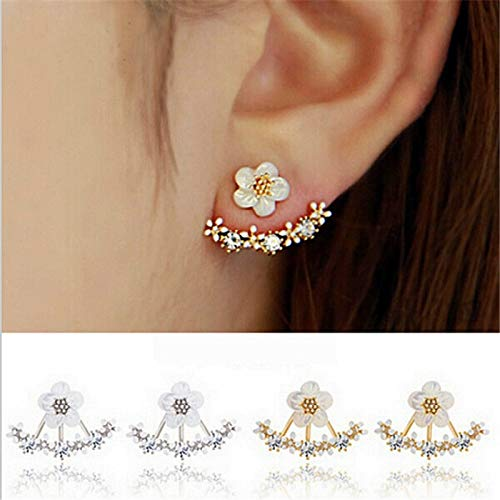 - sandywident Korean Jewelry 2016 New Zircon Crystal Front Back Double Sided Stud Earrings For Women Fashion Ear Jacket Piercing Earing Koyle