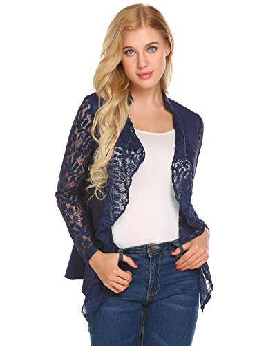 Concep Women's Open Front Cardigan, Lightweight Cotton Lace Sleeve Blazer Jacket (Navy Blue XL) (Blue Jacket Lace Light)