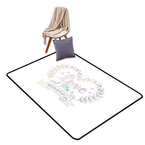 Door Rug Increase Romantic Pastel Colored Spring Inspired Frame Branches in Heart Shape with Dreamy Look W47 xL59 Suitable for Restaurants,Family Rooms,corridors,foyers.