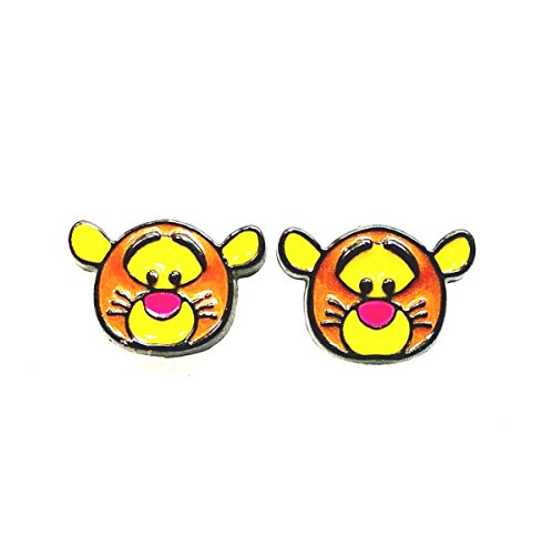 Disney's TSUM TSUM Inspired Winnie The Pooh TIGGER Head Character Metal Enamel Stud Earrings Great Gift (Tigger Head)